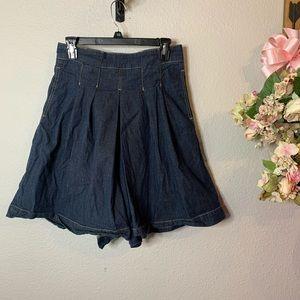 Max Azria Denim Pleated Baggie Shorts